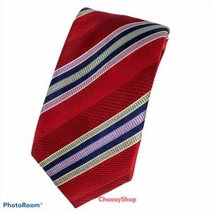 Stunning Red Lavender Green Navy Tan Striped Tie